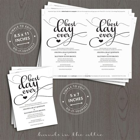 day  wedding invitation templates hands