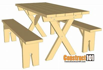 Picnic Plans Table Bench Benches Detached Material
