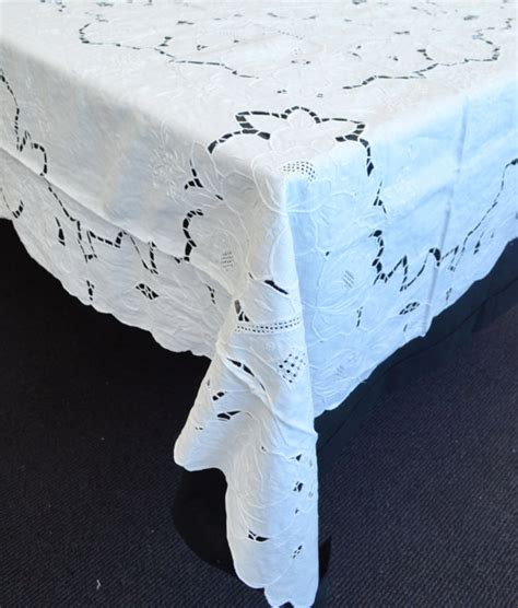 extra long white table cloth brand new large vintage crochet lace linen tablecloth 72 x