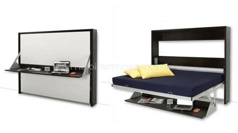 bureau mural lit escamotable 140x200 cm avec bureau rabattable