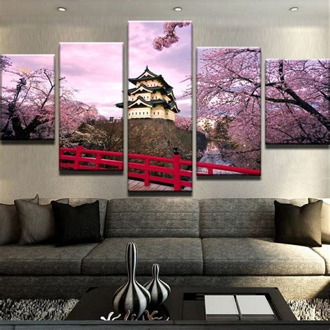 The cherry is one of the world's most delicious fruits, which explains why so many candies and snacks are flavored like this tiny red morsel. Cherry Blossom Japan - Nature 5 Panel Canvas Art Wall Decor - Canvas Storm