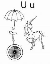 Unicorn Coloring Letter Unicycle Umbrella Mermaid Bulkcolor sketch template