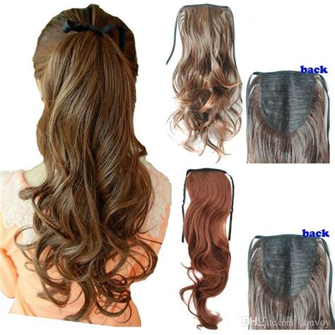 ponytail curly wavy extension hair extensions wigs ponytails hairstyles long pony dhgate heat messy sleek cute woman 55cm 22inch synthetic