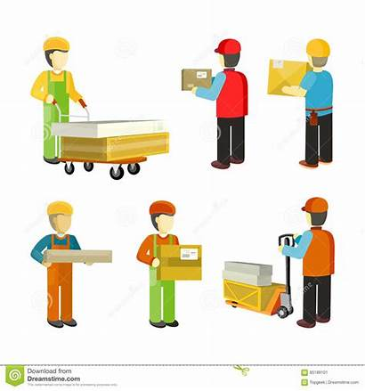 Warehouse Workers Interior Receiving Material Shipping Handler