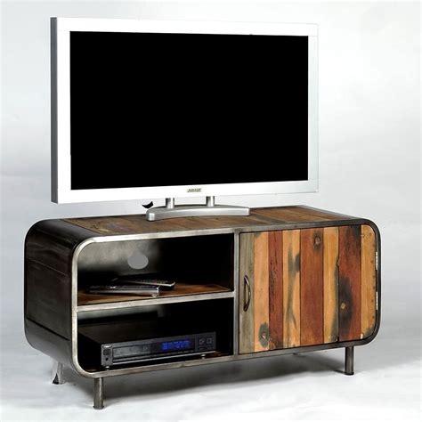 meuble tv 1 porte 2 niches en m 233 tal et bois de bateau recycl 233 pas cher