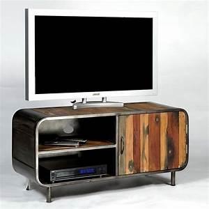 Meuble Tv Vintage : meuble tv 1 porte 2 niches en m tal et bois de bateau recycl pas cher ~ Teatrodelosmanantiales.com Idées de Décoration