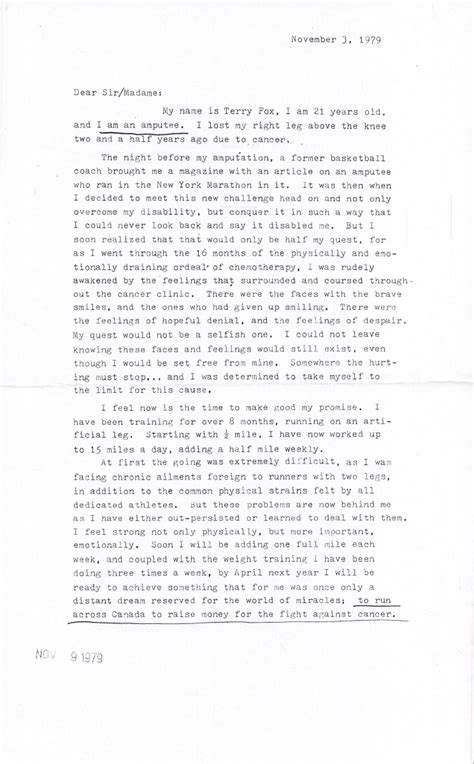 Terry Fox's 1979 Letter To Adidas Asking For 26 Pairs Of Running Shoes  The Star