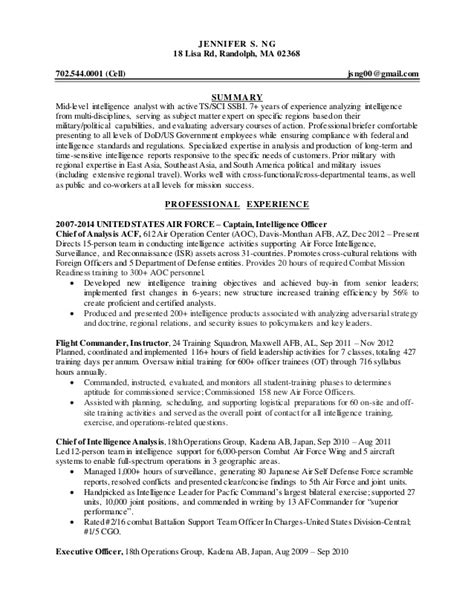 Army Intelligence Analyst Resume Sle by Intelligence Specialist Resume