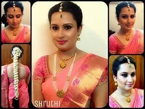 Traditional Southern Indian bride wearing bridal silk saree and jewellery Muhurat look Makeup