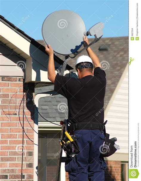 satellite technician stock photo image  receive system
