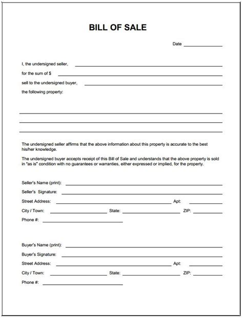 Sle Of A Bill Of Sale For An Automobile by Blank Simple Printable Bill Of Sale Form Template Pdf