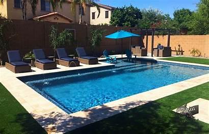 Rectangle Pool Inground Shelf Sun