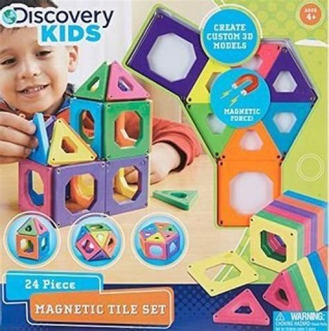 discovery kids 24 piece magnetic tile set