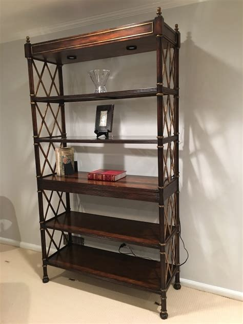 Glass Etagere Bookcase by Used Drexel Heritage Solid Wood Etagere Bookcase W Glass