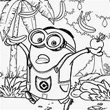 Minion Coloring Minions Pages Printable Despicable Banana Rush Costume Tropical Cartoon Preschool Fruit Printables Adults Drawing Activities Vector sketch template