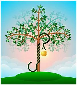 Colored Bible Tree Of Knowledge With The Snake And An