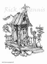 Outhouse Drawing Sketch Haunted Drawings Stamp Digital Paintingvalley Zoom sketch template