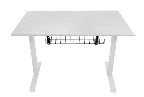 white desk with wood top hidesk standing desk white frame white wood top black tray