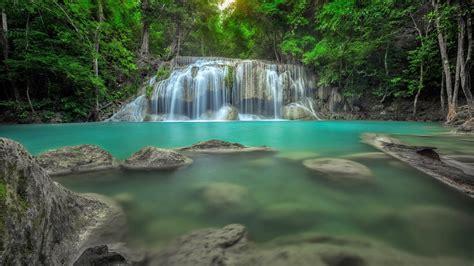 erawan waterfall  thailand jungle rain forest rocks