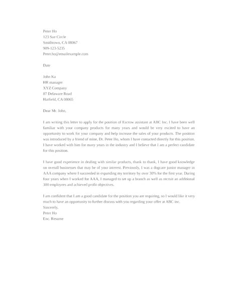 Escrow Assistant Resume by Basic Escrow Assistant Cover Letter Sles And Templates