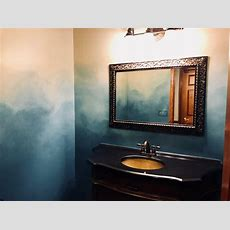 Teal Ombre Powder Room (vienna, Wv 2018)  Mural Photo