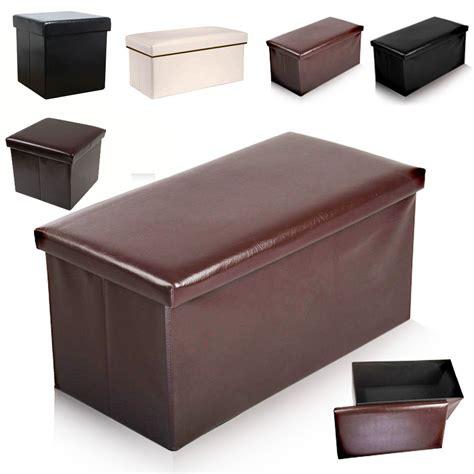 faux leather ottoman foldable faux leather ottoman storage pouffe box