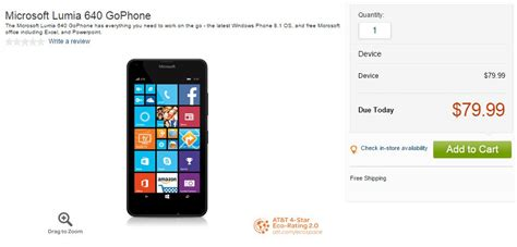 microsoft lumia 640 on sale at at t s gophone for 80