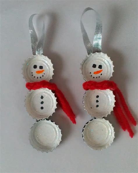 cheap and easy christmas crafts bottle cap snowmen diy christmas craft