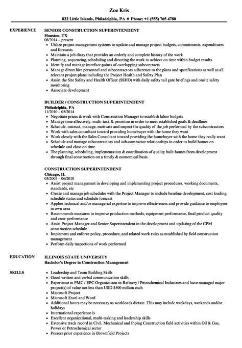 Construction Superintendent Resume construction superintendent resume sles velvet