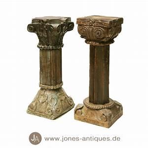 Säulen Aus Holz : alte niedere s ulen aus indien teak holz mit originalfarbe ~ Orissabook.com Haus und Dekorationen