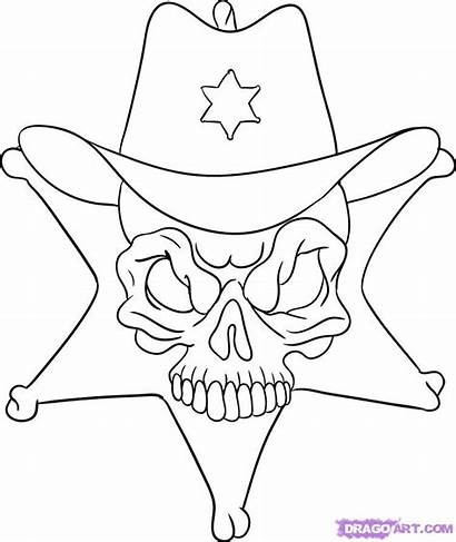 Skull Draw Skulls Coloring Pages Step Sheriff