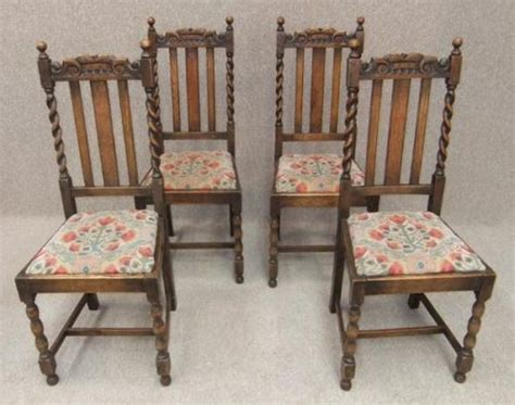set of 4 oak barley twist edwardian dining chairs