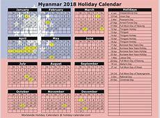 Myanmar 2018 2019 Holiday Calendar