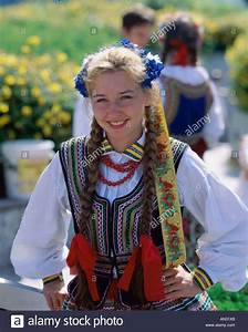 Girl Dressed in Traditional Polish Costume, Warsaw, Poland ...