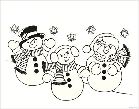 Three Snowmen Coloring Page