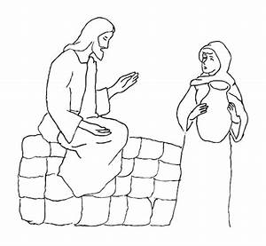 jesus and the at the well coloring page