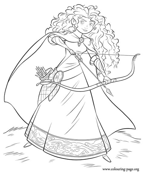 brave princess merida   bow  arrow coloring page
