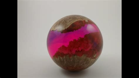 making woodturning  wood  resin hybrid sphere