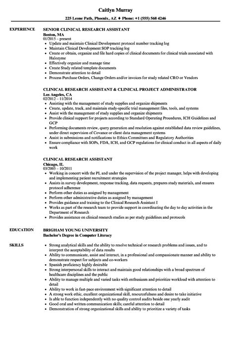 Research Assistant Resume by Clinical Research Assistant Resume Sles Velvet