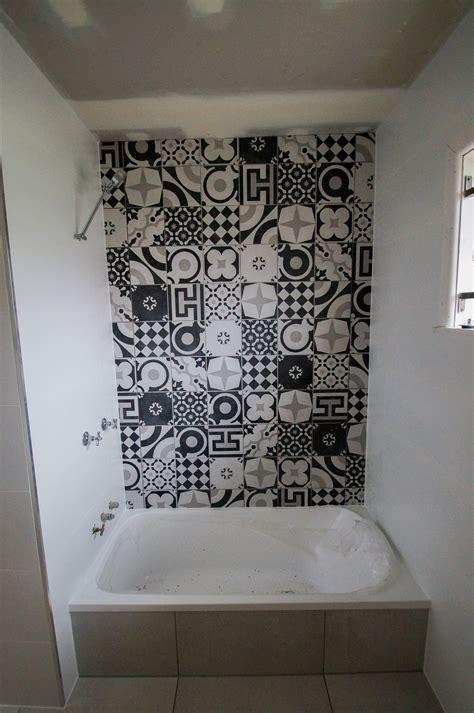 bathroom black white feature seq tiling  cladding service