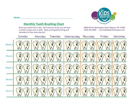 Toothbrush Brushing Chart