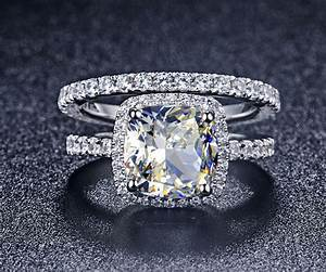 luxury quality synthetic diamond 3 carat cushion cut With synthetic diamond wedding rings