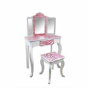 Teamson Kids Zebra Vanity Table And Stool Set In White And