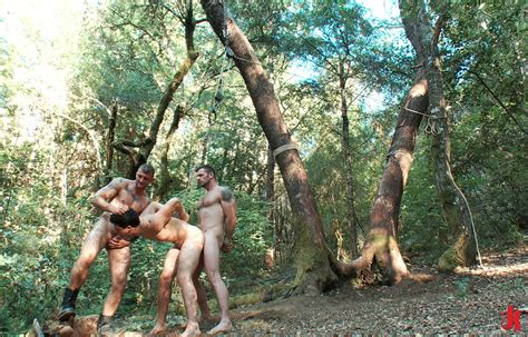 bound gods strong perverts tie slaves outdoor in forest and force them to fuck in extreme gay