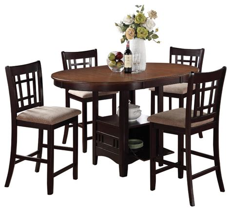 5pc oval counter height table chair dining set light oak