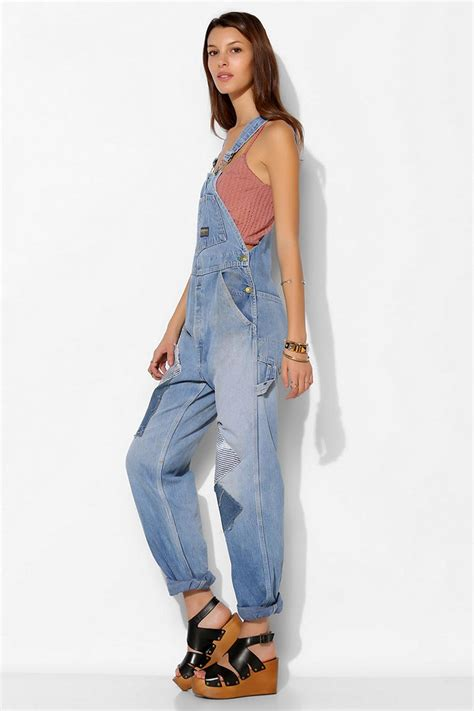 Lyst - Urban Outfitters Urban Renewal Repaired Denim Overall in Blue