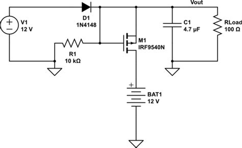 Channel Mosfet Automatic Switch Between Battery