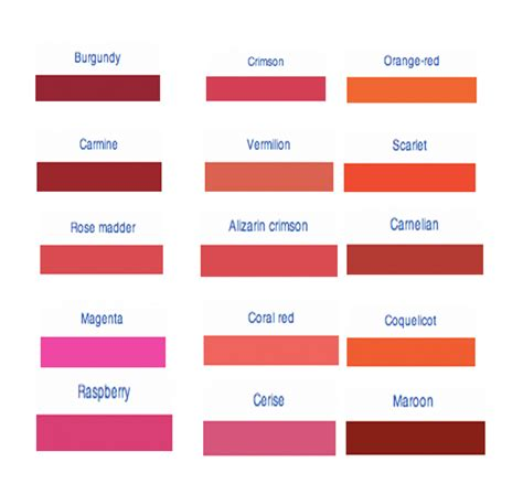 different color reds what s your favourite and