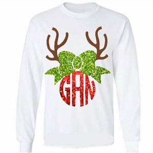 Christmas reindeer monogrammed shirt YOUTH SIZED