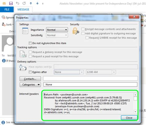 Office 365 Mail Headers by How To View All Message Headers In Outlook 2010 2013
